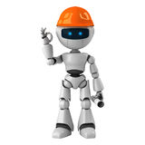 Robotic man with hardhat. 3d rendering of a robotic man wearing a bright orange construction hardhat Stock Photo