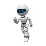 Robotic man running. 3d rendering of a white robotic man running Royalty Free Stock Images