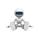 Robotic man sitting. 3d rendering of a white robotic man sitting.  White background Stock Image