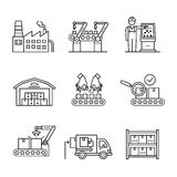 Robotic and manual manufacturing assembly lines. Modern robotic and manual manufacturing assembly lines. Packaging, loading and warehouse inventory. Thin line vector illustration