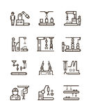 Robotic manufacturing assembly lines and automatic conveyor with manipulators line vector icons. Automatic production machine in work process, illustration of royalty free illustration
