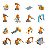 Robotic Mechanical Arm Isometric Icons Set Stock Photo
