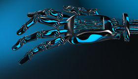Robotic mechanical cybernetic metal arm. 3d rendering Royalty Free Stock Photo
