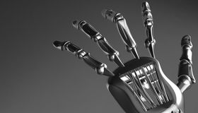 Robotic mechanical cybernetic metal arm. 3d rendering Royalty Free Stock Images