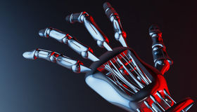 Robotic mechanical cybernetic metal arm. 3d rendering Stock Image