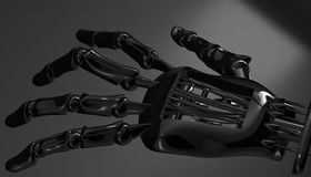 Robotic mechanical cybernetic metal arm. 3d rendering Stock Photography