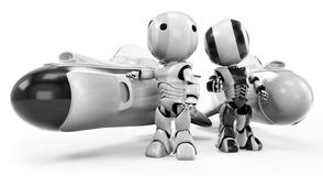 Robotic men and rockets. A three-dimensional view of two robotic men standing near rockets.  Gray tone on white background Royalty Free Stock Images