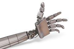 Robotic metallisk hand som isoleras på vit bakgrund framförd illustration 3d Royaltyfria Bilder