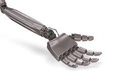 Robotic metallisk hand som isoleras på vit bakgrund framförd illustration 3d Arkivbild