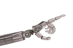 Robotic metallisk hand som isoleras på vit bakgrund framförd illustration 3d Royaltyfri Bild