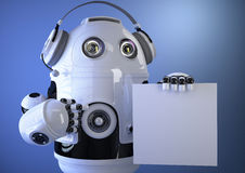 Robotic operator with headset and blank board. Technology concep Royalty Free Stock Photo
