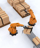 Robotic Palletizing and Packaging Concept Stock Photos