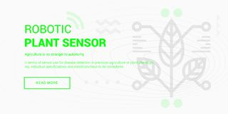 Robotic Plant Sensor banner. Vector illustration of robotic plant sensor banner on white background Royalty Free Stock Photo