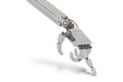 Robotic plast- hand på vit bakgrund framförd illustration 3d Arkivbilder