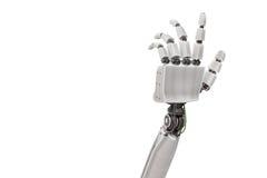 Robotic plast- hand som isoleras på vit bakgrund framförd illustration 3d Royaltyfri Fotografi