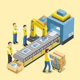 Robotic production line. Concept in 3d isometric flat design Royalty Free Stock Photography