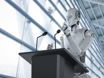 Robotic public speaker. 3d rendering robotic public speaker speaking on podium Royalty Free Stock Photos