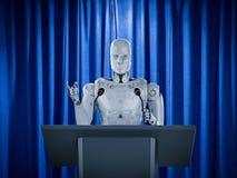 Robotic public speaker. 3d rendering robotic public speaker speaking on podium stock illustration
