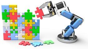 Robotic puzzle problem solution. Robotic arm finds technology business problem solution royalty free illustration