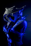 robotic spacesuit with blue lights and transparent sheets, futur Royalty Free Stock Photos