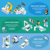 Robotic Surgery Isometric Banners Stock Photo