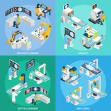 Robotic Surgery Isometric 2x2 Design Concept Stock Photography