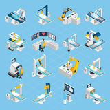 Robotic Surgery Isometric Icons Set. With  surgeons patients and medical robots with widescreen touch screen and touch control  vector illustration Stock Images