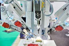 Robotic surgical system. On a test medical stand royalty free stock photo