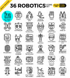 Robotic technology outline icons. Modern style for website or print illustration Stock Photography
