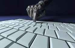 Robotic trycka på för hand skriver in tangent på tangentbordet framförande 3d Worki stock illustrationer