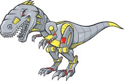 Robotic Tyrannosaurus Rex. Illustration on white background Stock Photo