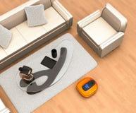 Robotic vacuum cleaner moving on flooring. 3D rendering image stock illustration
