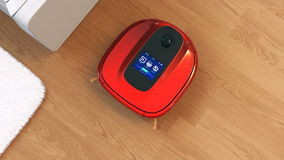 Robotic vacuum cleaner's touch screen interface stock footage