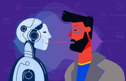 Robotic voice assistant Concept Banner. Trendy Character Design Illustration. Concept banner with man using his voice to command to the robot. Robotic voice royalty free illustration