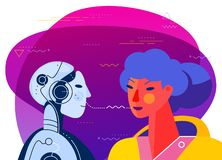 Robotic voice assistant Concept Banner. Trendy Character Design Illustration stock illustration