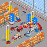 Robotic Warehouse Isometric Background. Automatic robotic warehouse section isometric interior composition with scoop lifters drones and  shelves with similar Stock Image