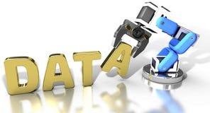 Robotic web data storage technology. Robotic arm automatic data storage and data center database technology stock illustration
