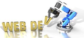 Robotic web development technology. Robotic arm automatically builds website as web development technology royalty free illustration