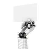 Robotic White Hand Holding Blank Paper Sign For Your Text Royalty Free Stock Images