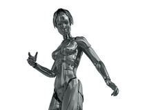 Robotic woman. Silver steel cyborg with red eyes isolated on white Royalty Free Stock Photography