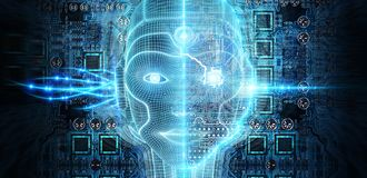 Robotic woman cyborg face representing artificial intelligence 3D rendering. Robotic woman cyborg face representing artificial intelligence concept 3D rendering royalty free illustration