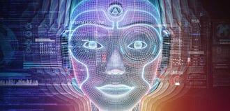 Robotic woman cyborg face representing artificial intelligence 3D rendering. Robotic woman cyborg face representing artificial intelligence concept 3D rendering vector illustration