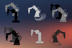 Robotica, robothand, van het de illustratiepictogram van het robotpictogram vastgestelde vector abstracte illustratie als achterg Stock Afbeelding