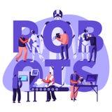 Roboticahardware en Softwaretechnologie in Laboratorium met Hi-Tech Materiaalconcept Ingenieurs die en Robots maken programmeren vector illustratie