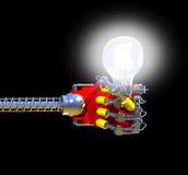 Robotics. A 3D render of a robot hand holding a light bulb illustrating the concept of artificial intelligence (A.I Royalty Free Stock Images