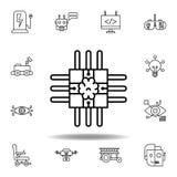 Robotics brain outline icon. set of robotics illustration icons. signs, symbols can be used for web, logo, mobile app, UI, UX