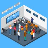 Robotics Club Isometric Composition. Including machines with artificial intelligence, computer equipment, visitors on blue background vector illustration Royalty Free Stock Photography