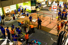 Robotics Competition inside Boston Museum of Science. Areas are marked off as teams work together to complete their project in a competition held at the Boston stock images
