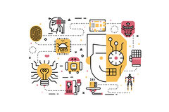 Robotics concept illustration. Robotics line icons illustration. Design in modern style with related icons ornament concept for website, app, web banner Stock Photography