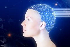 Robotics concept. Side view of woman with digital brain on dark blue background. Robotics concept Royalty Free Stock Image